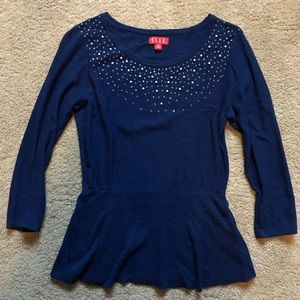 Beaded peplum sweater